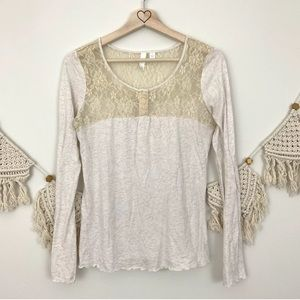 Anthropologie Eloise Cream Lace Long Sleeve Top